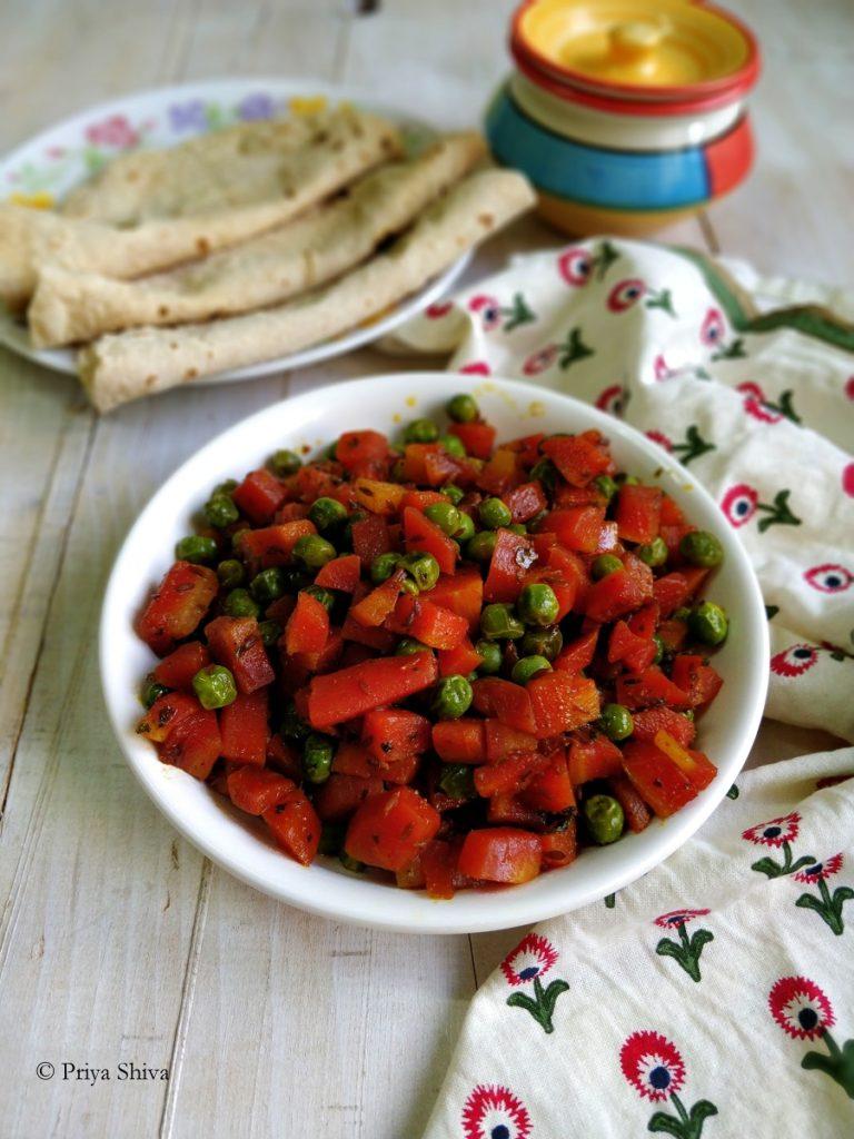 Gajar Matar ki Sabzi - Carrot Peas Stir Fry