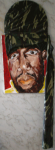 Sizzlakalonji Wood, Camo Fabric, Pallette Knife on Canvas