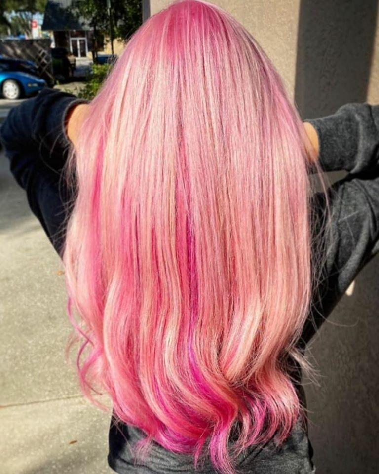 Blushing...  Laura created this beautiful Pink Princess with Socap Original Fusion Extensions, a Redken color makeover, beautiful vibrant colors by Pulpriot and Redken City Beats, and, oh yeah, Olaplex, lots and lots of Olaplex!