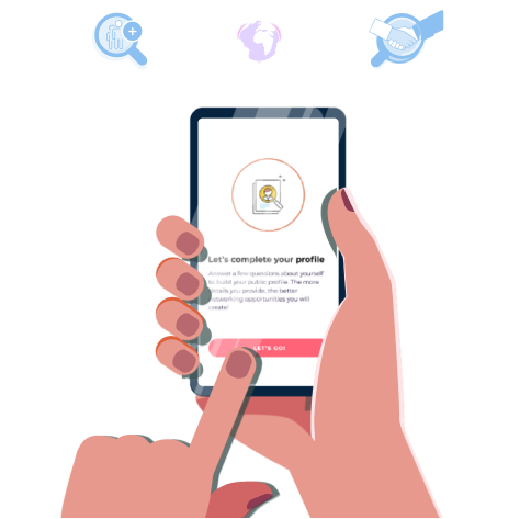 hand holding smartphone using connectful