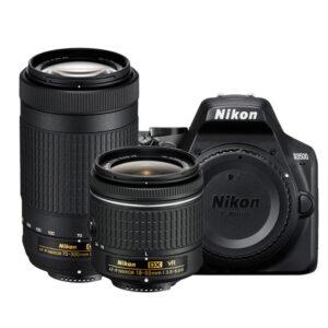 Nikon D3500 DSLR Camera 18-55  and 70-300  Dual lens Memory card and Bag (Black)