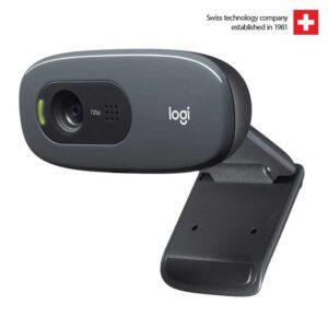 Logitech C270 HD Webcam, HD 720p/30fps, Widescreen HD Video Calling, HD Light Correction, Noise-Reducing Mic, for PC/Mac/Laptop/MacBook/Tablet(Black)