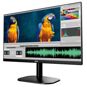 AOC 24B2XH 23.8″ Ultra Slim Monitor which is 3 Sided Frameless with IPS Panel (HDMI/VGA Port/ Full HD/ Free Sync/ 7 ms Response Time/ 75Hz Refresh Rate/ VESA Mount Support Flicker Free)