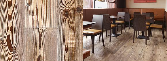 Antico Larch Grigio wood flooring sample (left), and in restaurant (right)