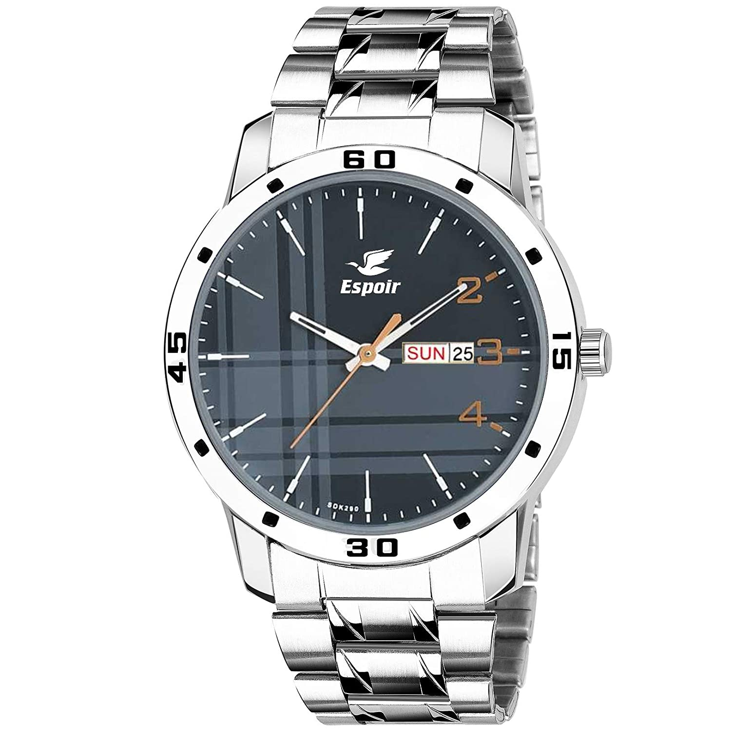 Espoir Analogue Stainless Steel Blue Dial Day and Date Boy's and Men's Watch – Chhattisgarh0507