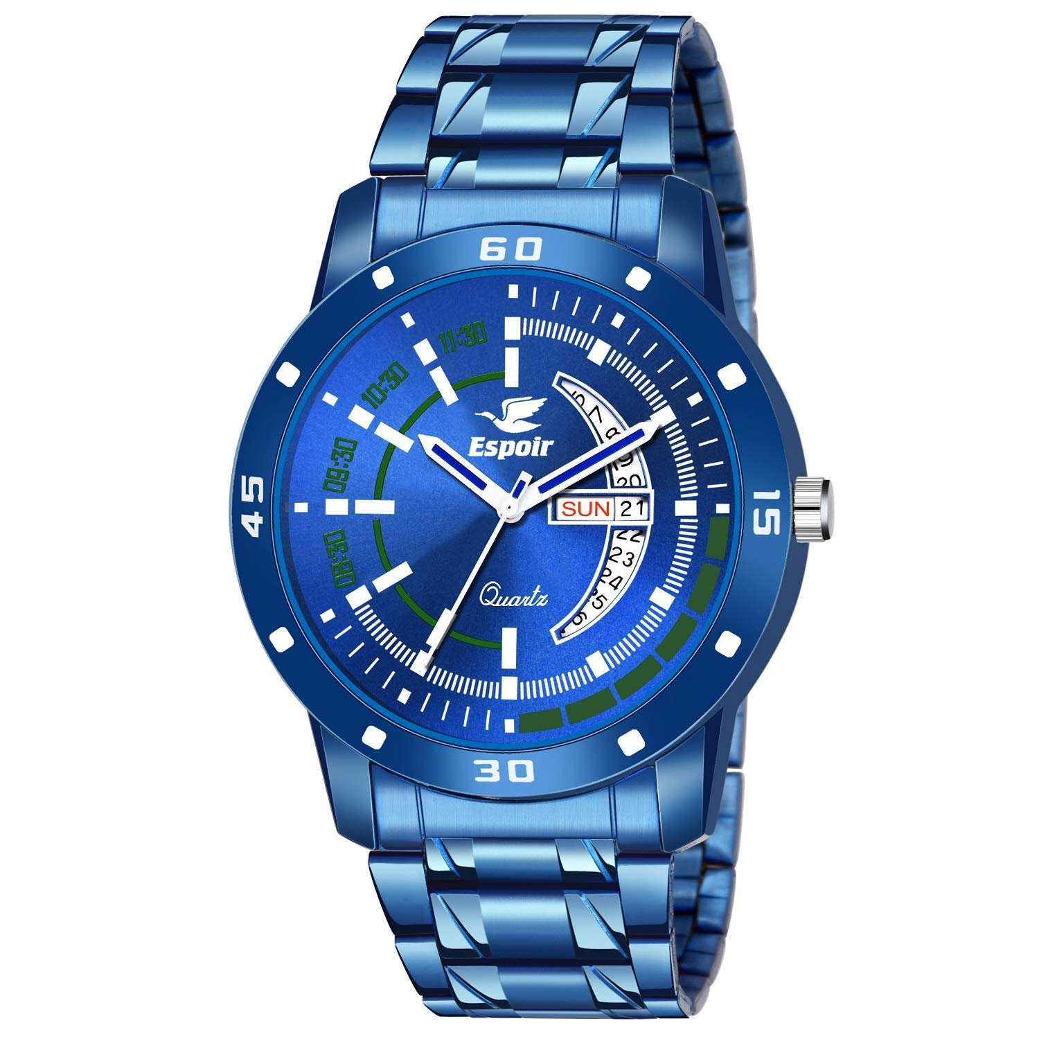 Espoir Analogue Stainless Steel Blue Dial Day and Date Boy's and Men's Watch – Godhra002