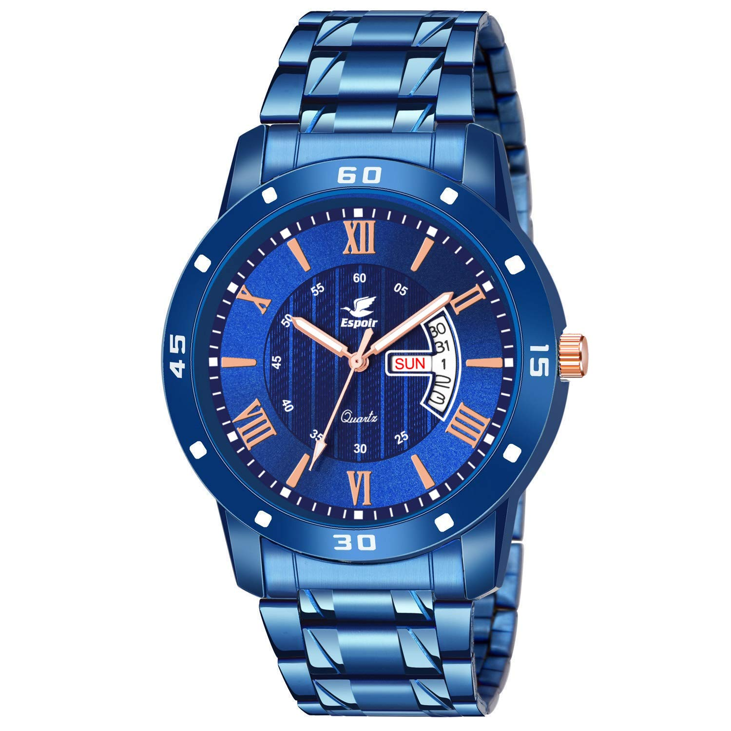 Espoir Analogue Stainless Steel Blue Dial Day and Date Boy's and Men's Watch – TONK0507