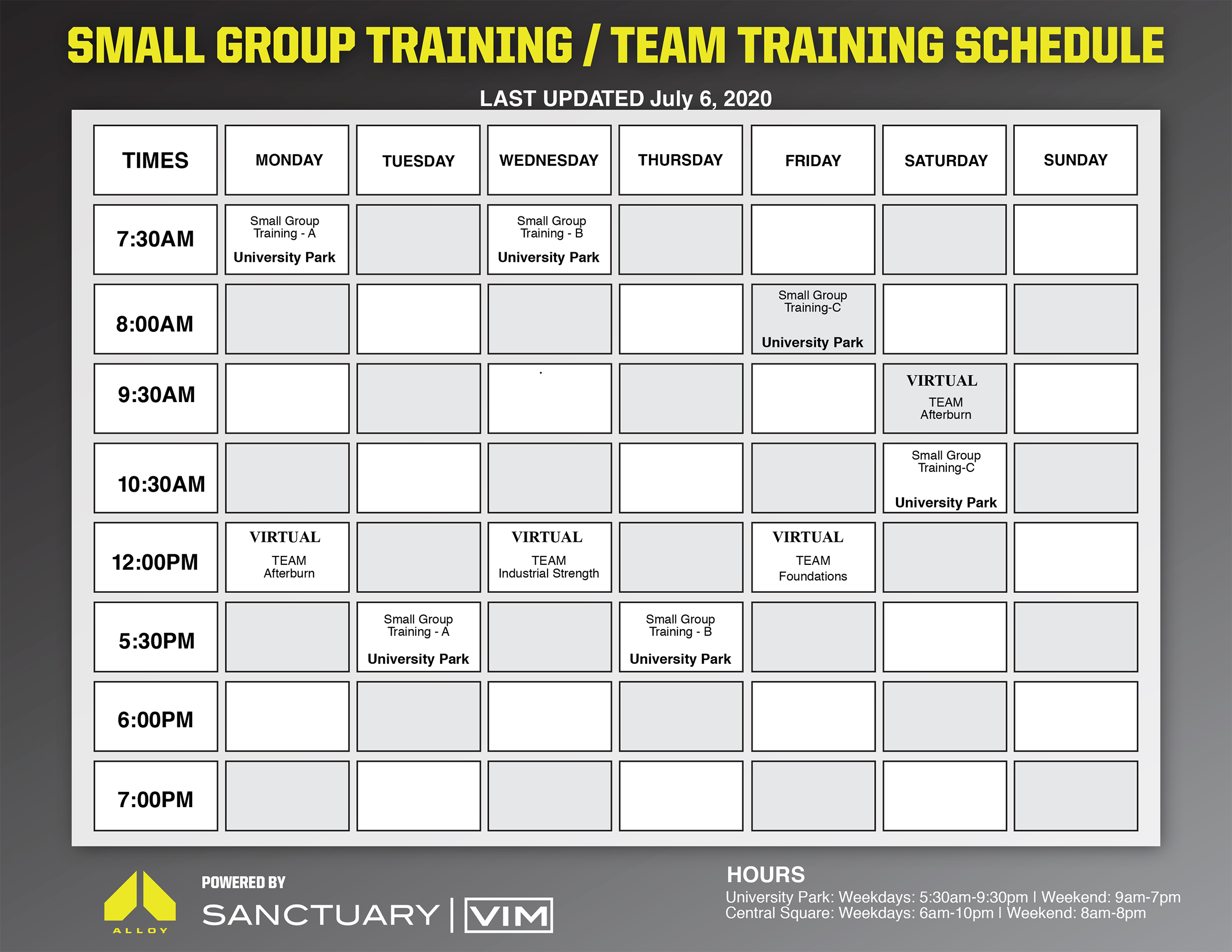 small group training schedule