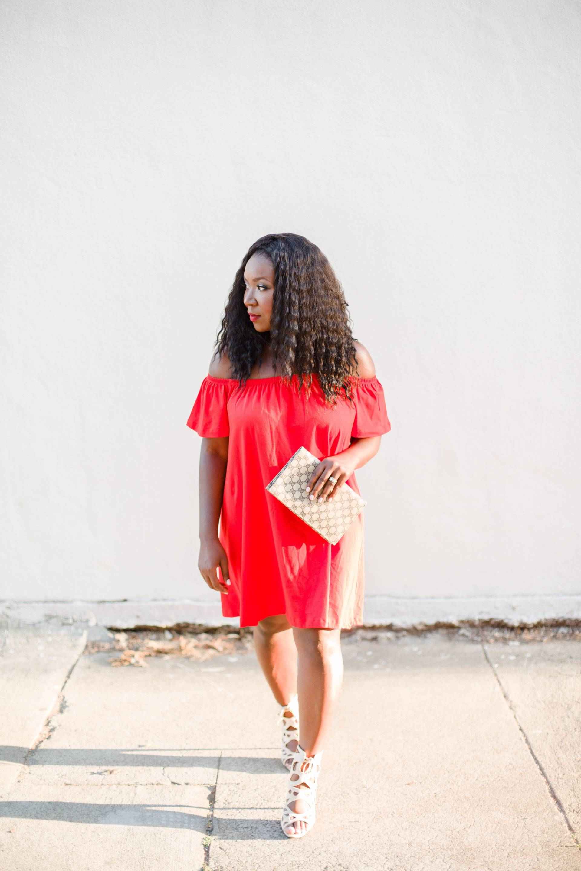 red-off-the-shoulder- curly hair
