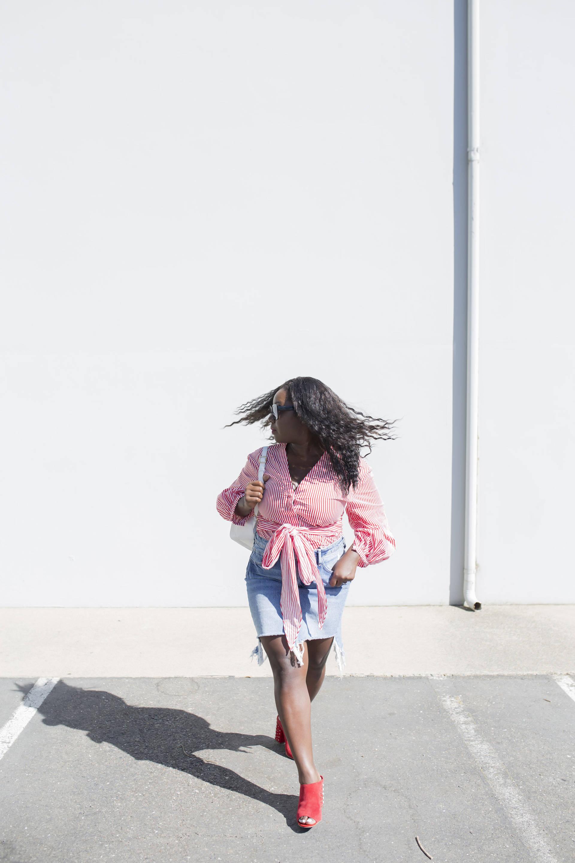 Timeless Demin Skirts + Flirty Stripes