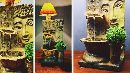 DIY Buddha Water Fountain Lamp Sculpture