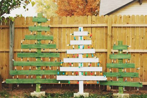 Lighted Wooden Christmas Trees