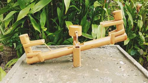Bamboo And Cement Fountain
