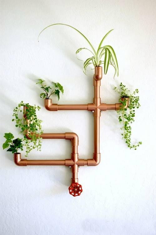 DIY Copper Pipes Wall Planter