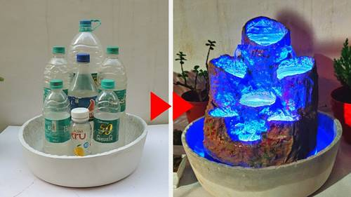 Mini Waterfall With Bottles And LED