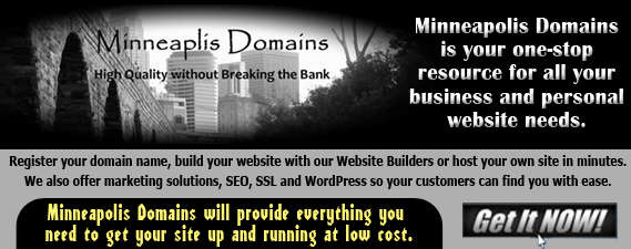Minneapolis Domains Offering Domain Registration Website Hosting WordPress Site Builders Email marketing and SEO. All with world class 24/7 customer service.