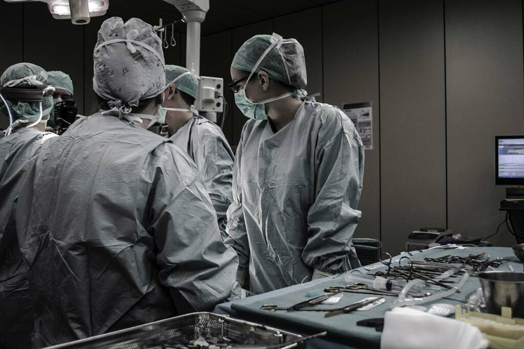 Nurses in operating room.