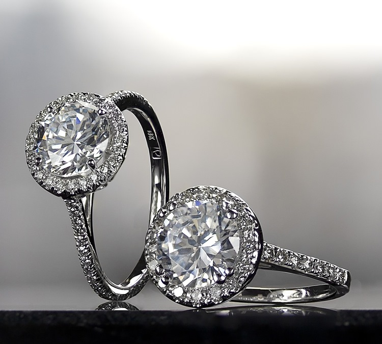 2 Engagement Rings with Halo