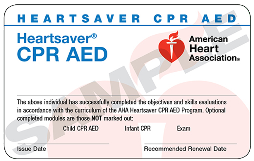 Heartsaver CPR AED certification card