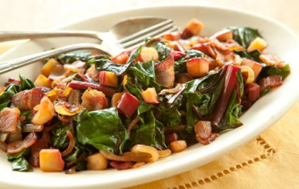 Swiss Chard with Bacon and Apple