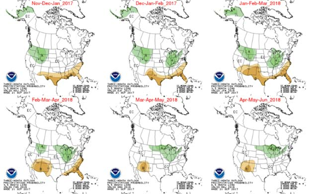 CPC Month-By-Month Temperature Outlook