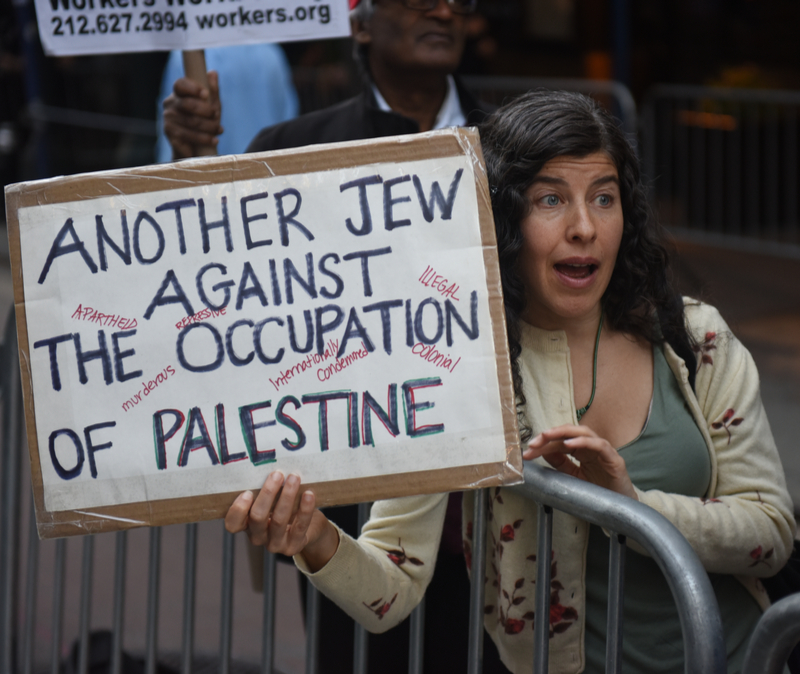 Liberal American Jewish woman protests Israel with sign