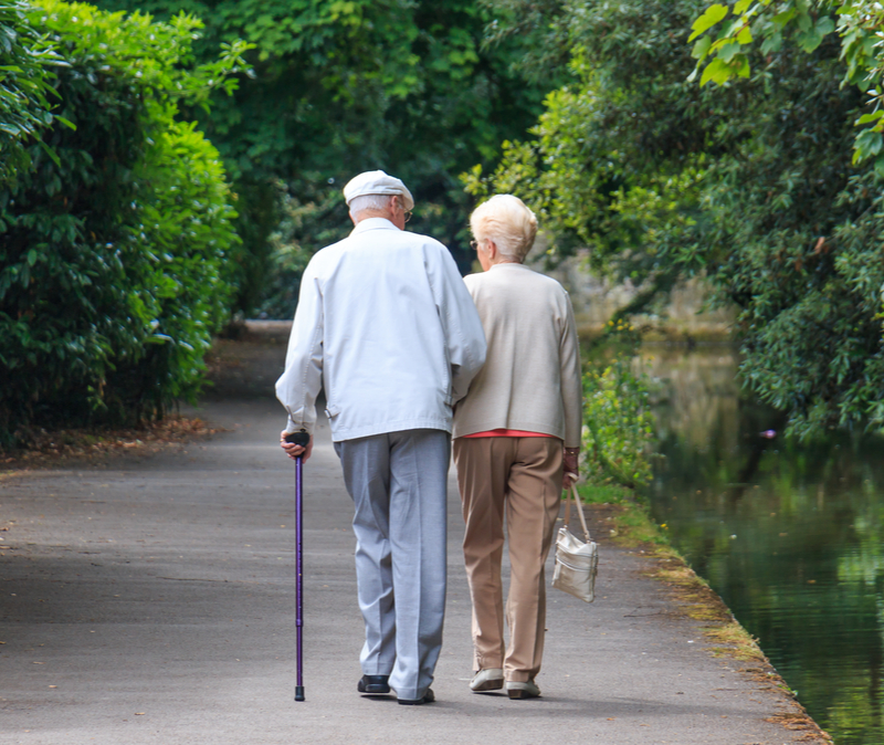 elderly couple walking in a park,
