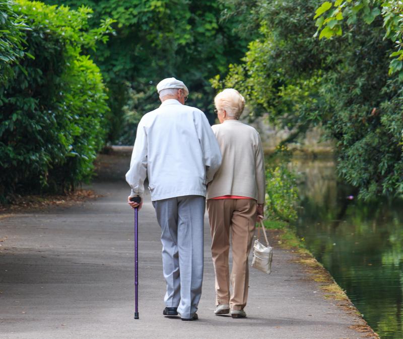 elderly couple walking in a park,