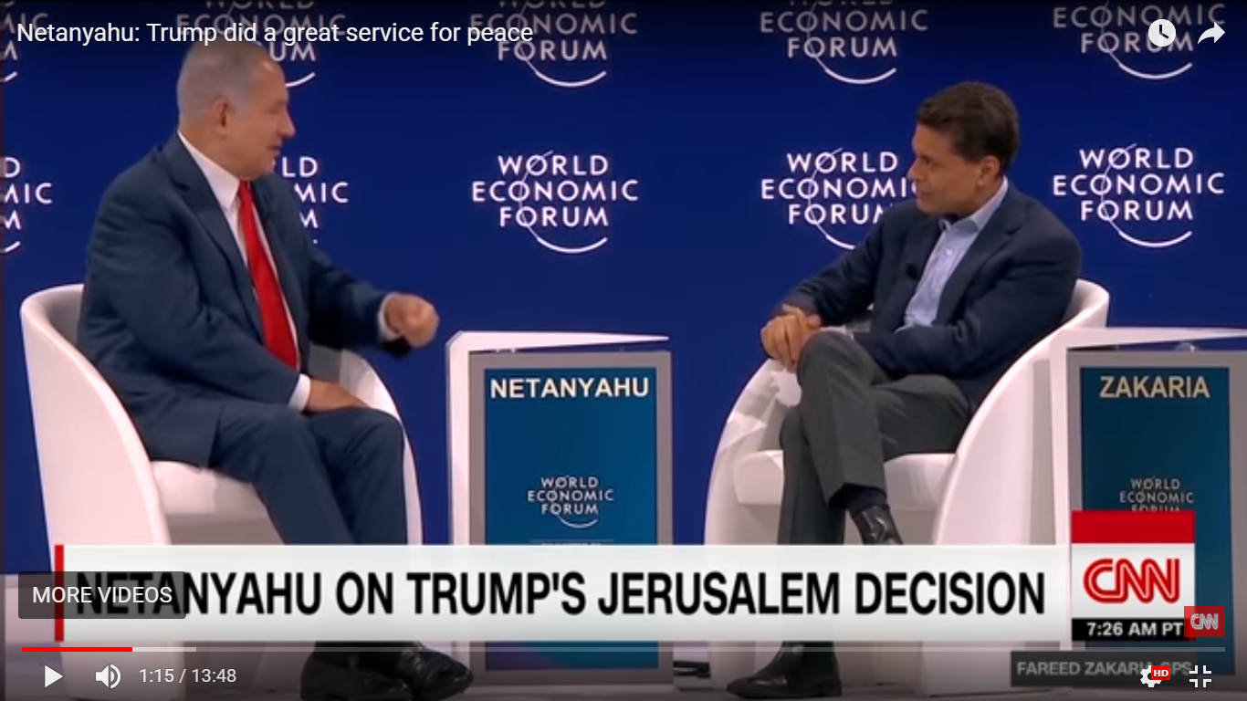 Israeli PM Netanyahu is interviewed by CNN's Fareed Zakaria in Davos, 2018