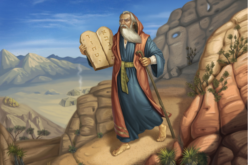 Moses holding the tablets