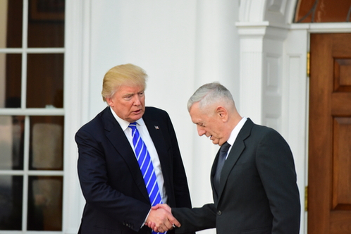 President Trump shakes former Secretary of Defense James Mattis' hand