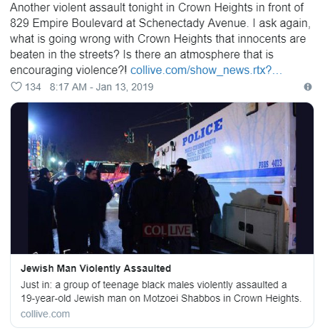 Screenshot of tweet regarding Jewish man assaulted in Crown Heights