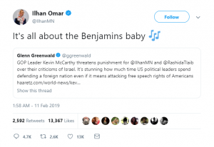 Ilhan Omar All about the Benjamins Baby tweet