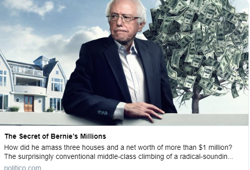 Bernie Sanders next to money tree from Politico article