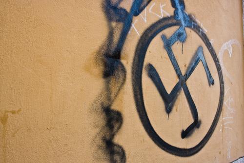Swastika painted on home