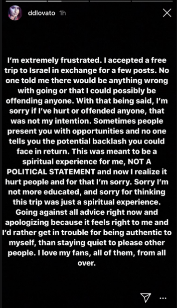 Demi Lovato's instagram post apologizing for accepting a free trip to Israel