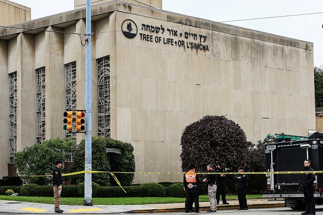 Tree of Life Synagogue surrounded by yellow crime tape