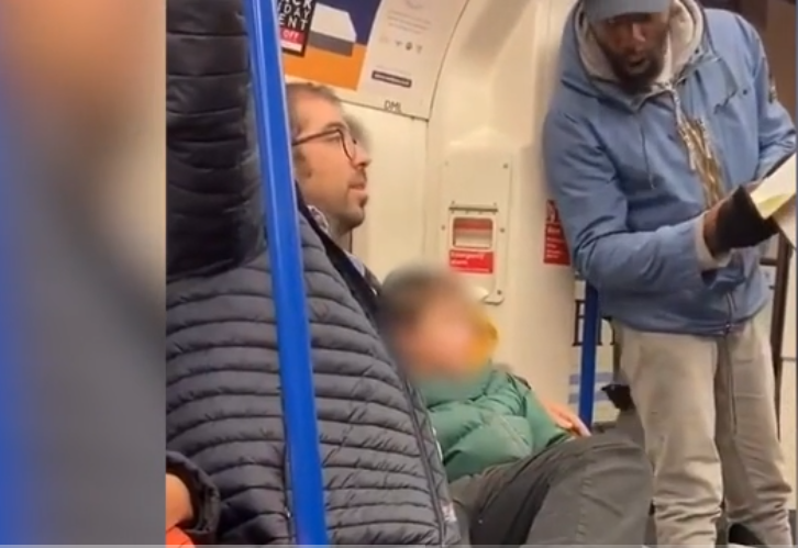 screenshot of Jewish family suffering antisemitic harangue on tube