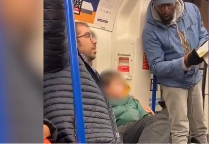 screenshot of Jewish family suffering antisemitic harangue on tube