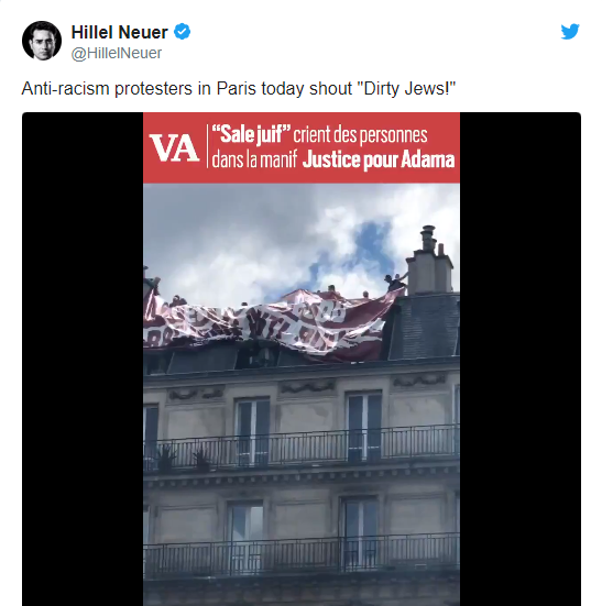 """French protesters cry """"Dirty Jews"""" and hold placards against Israel"""