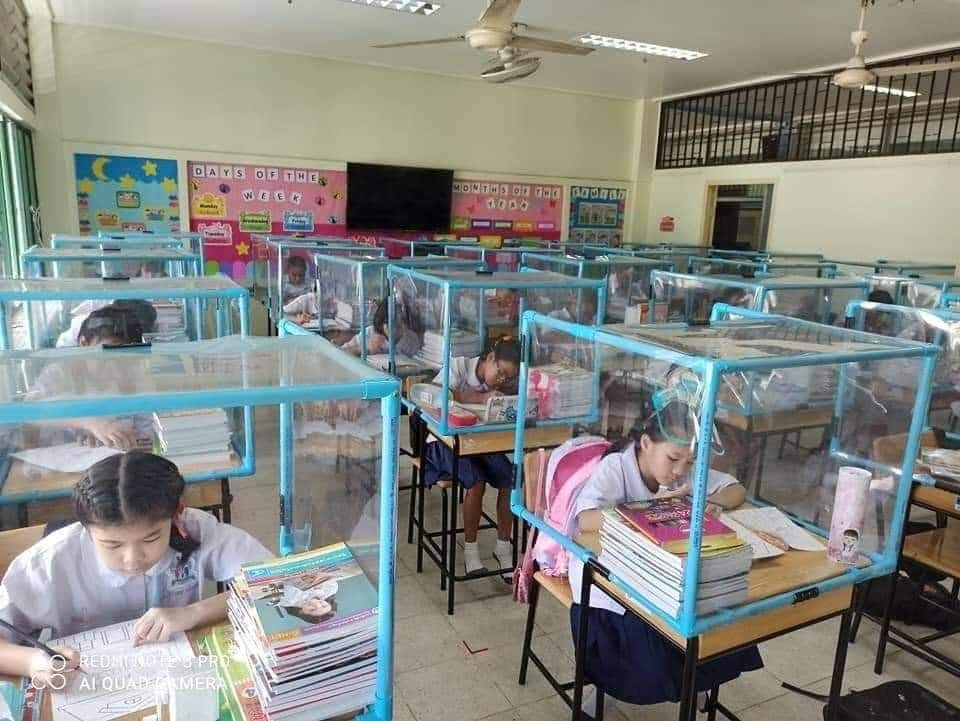 Classroom cubes to enforce hygiene and social distancing