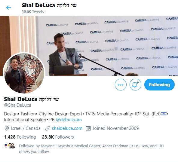 Twitter profile of Toronto designer Shai DeLuca