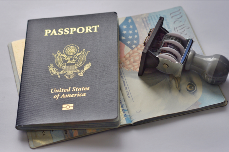 american passport and stamp