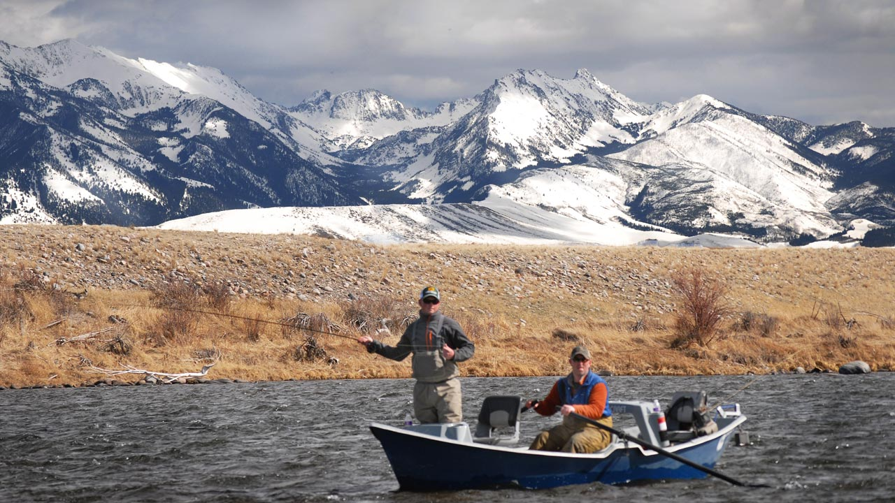 Fishing in Drift Boat on the Madison River near Ennis Montana in April
