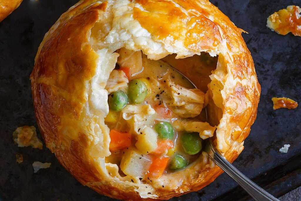 chicken pot pie at winifred's english pub, single serving. hot, steamy and delicious!