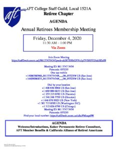 Annual Retirees Membership Meeting details