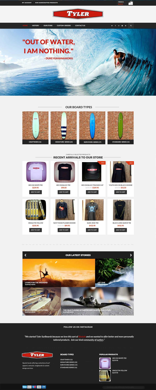 surfing shop website design