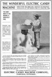 """Electric """"Fairy Floss"""" Candy  Machine Advertisement (1905)"""