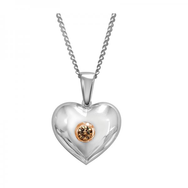 chocolate diamond love pendant