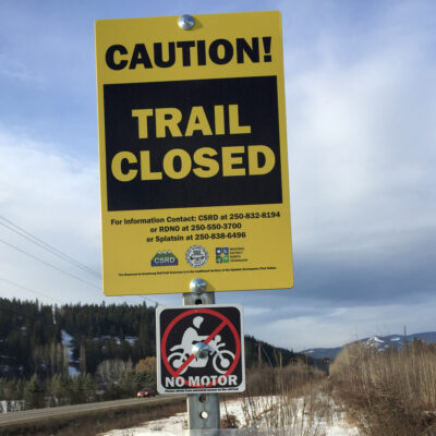 Splatsin, Regional District of North Okanagan, and Columbia Shuswap Regional District Governance partners remind everyone the rail trail remains closed for all motorized and non-motorized use until safely developed for walking and cycling. (Shuswap Traill Alliance photo)